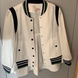 Veronica Beard white sparkle mesh bomber jacket 4